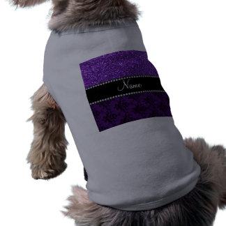 Damasco púrpura conocido personalizado del brillo camiseta de perro