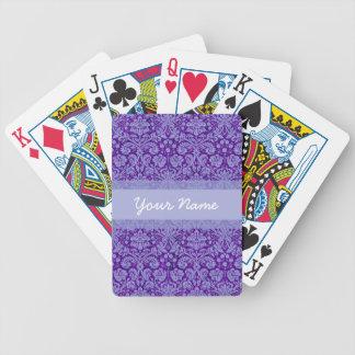 Damasco púrpura de encargo barajas de cartas