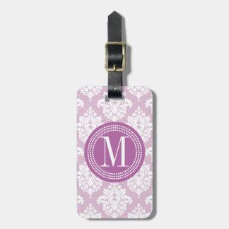 Damasco púrpura de la lila elegante personalizado etiquetas maleta