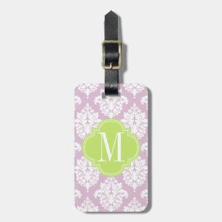 Damasco púrpura de la lila elegante personalizado etiquetas de equipaje