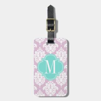 Damasco púrpura de la lila elegante personalizado etiquetas maletas