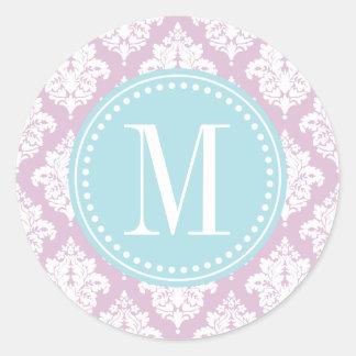 Damasco púrpura de la lila elegante personalizado pegatinas redondas