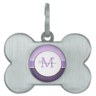 Damasco púrpura de Morgan y monograma inicial de l Placa De Mascota