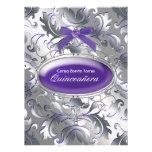 Damasco púrpura de plata Quinceanera púrpura elega Anuncio