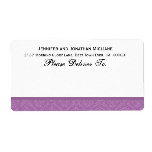 Damasco púrpura del boda de la lavanda etiqueta de envío