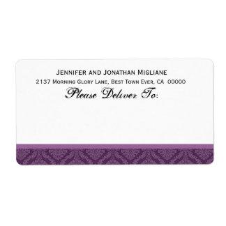 Damasco púrpura del boda etiqueta de envío