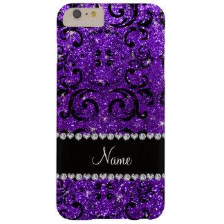 Damasco púrpura del brillo del añil negro conocido funda barely there iPhone 6 plus