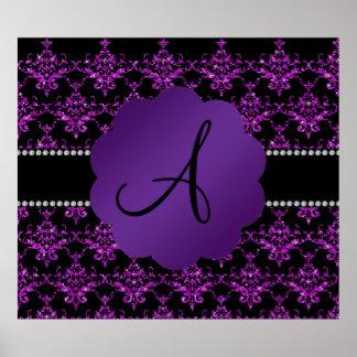 Damasco púrpura del brillo del monograma impresiones
