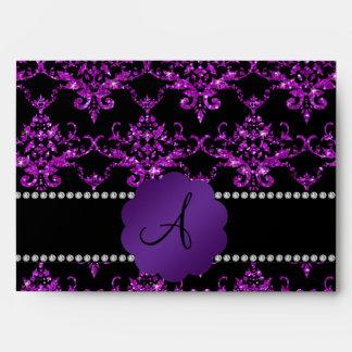 Damasco púrpura del brillo del monograma