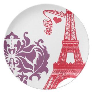 Damasco púrpura del ciruelo del vintage rosado de platos para fiestas