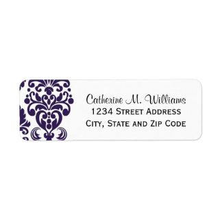 Damasco púrpura del cordón del Victorian de moda Etiquetas De Remite