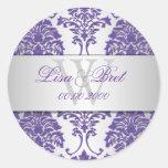 Damasco/púrpura del florentius de PixDezines+plata Etiqueta Redonda