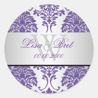 Damasco púrpura del florentius de PixDezines+plata Etiquetas Redondas