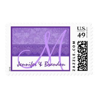 Damasco púrpura del Grunge del iris del monograma Sello