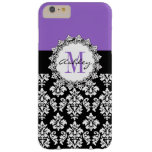 Damasco púrpura del negro de la flor de lis con funda de iPhone 6 plus barely there