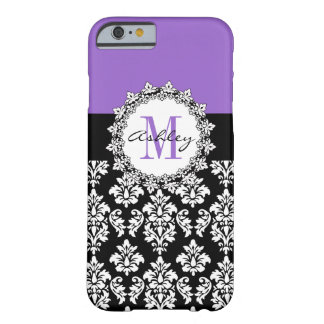 Damasco púrpura del negro de la flor de lis con funda de iPhone 6 barely there