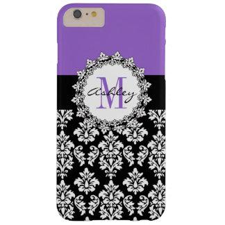 Damasco púrpura del negro de la flor de lis con funda para iPhone 6 plus barely there