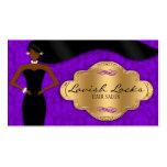 Damasco púrpura del oro del estilista afroamerican plantillas de tarjetas de visita