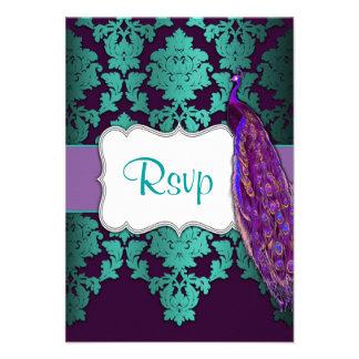 Damasco púrpura del pavo real y del trullo que cas invitaciones personalizada