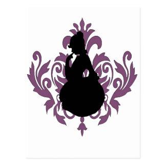 Damasco púrpura del Victorian con la silueta Postal