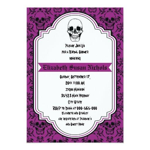 """Damasco púrpura, ducha nupcial de los cráneos del invitación 5"""" x 7"""""""