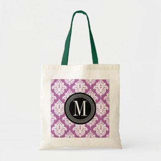 Damasco púrpura elegante personalizado bolsa tela barata