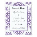 Damasco púrpura en reserva del blanco la fecha invitación 10,8 x 13,9 cm