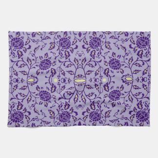 Damasco púrpura florido toalla