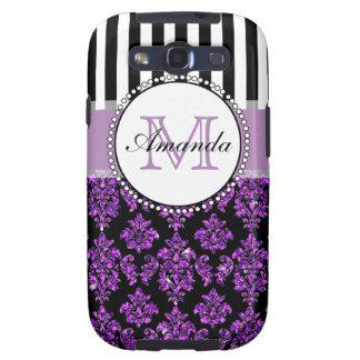 Damasco púrpura moderno femenino del brillo galaxy SIII coberturas
