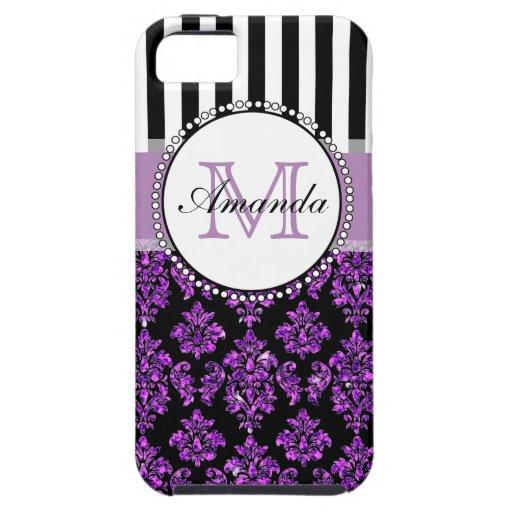 Damasco púrpura moderno femenino del brillo funda para iPhone SE/5/5s