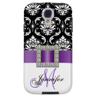 Damasco púrpura moderno femenino del negro de la c funda galaxy s4