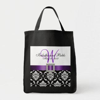 Damasco púrpura, negro personalizado casando la bolsas lienzo