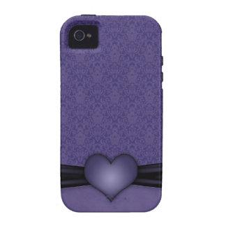 Damasco púrpura oscuro con el corazón vibe iPhone 4 fundas