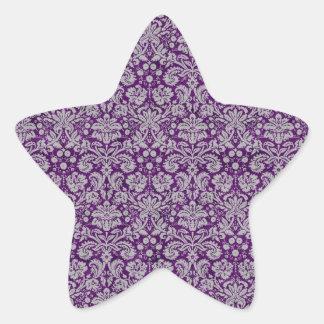Damasco púrpura oscuro pegatina forma de estrella