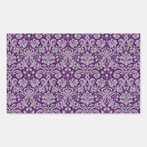 Damasco púrpura oscuro pegatina rectangular