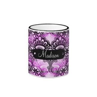 Damasco púrpura personalizado nombre de encargo de taza a dos colores