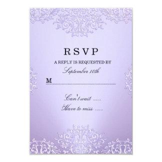 """Damasco púrpura RSVP del vintage Invitación 3.5"""" X 5"""""""
