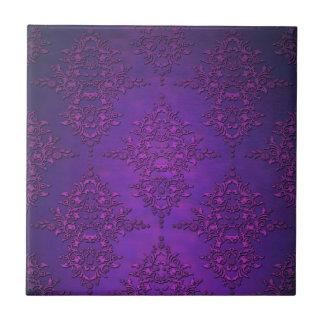 Damasco púrpura vibrante de lujo azulejo cuadrado pequeño