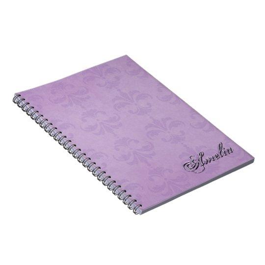Damasco púrpura violeta con el texto conocido note book