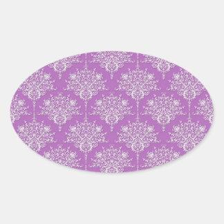 Damasco púrpura y blanco bonito calcomanía de óval