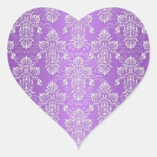 Damasco púrpura y blanco de la lavanda de lujo pegatina en forma de corazón