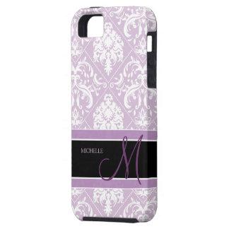 Damasco púrpura y blanco del cardo con clase con e iPhone 5 coberturas