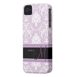 Damasco púrpura y blanco del cardo con clase con e Case-Mate iPhone 4 cobertura