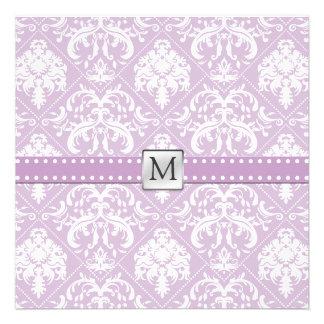 Damasco púrpura y blanco del cardo elegante del vi comunicados personalizados