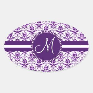 Damasco púrpura y blanco del vintage elegante del calcomanías de ovaladas
