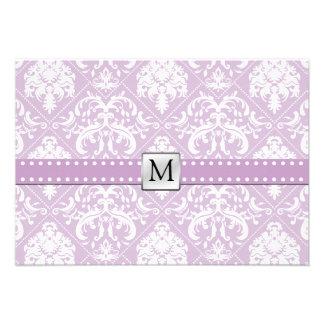 Damasco púrpura y blanco RSVP del cardo elegante d Invitaciones Personalizada
