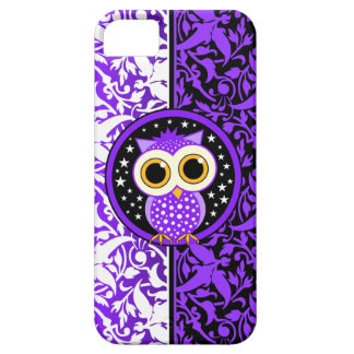 damasco púrpura y búho lindo iPhone 5 Case-Mate cobertura