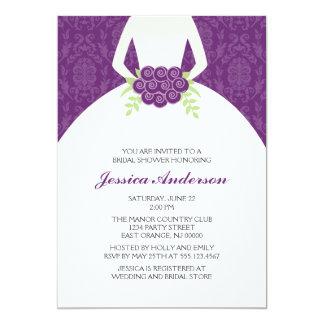 Damasco púrpura y ducha nupcial floral invitación 12,7 x 17,8 cm