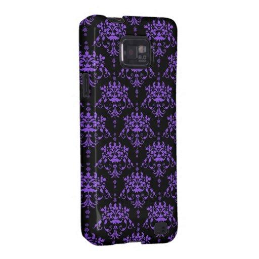 Damasco púrpura y negro del bígaro samsung galaxy s2 funda
