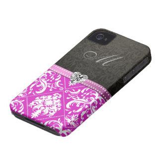 Damasco púrpura y negro elegante con el monograma iPhone 4 cobertura